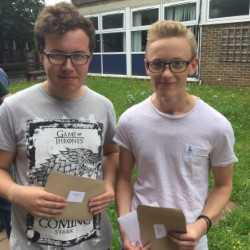Brendon and George collecting AS grades
