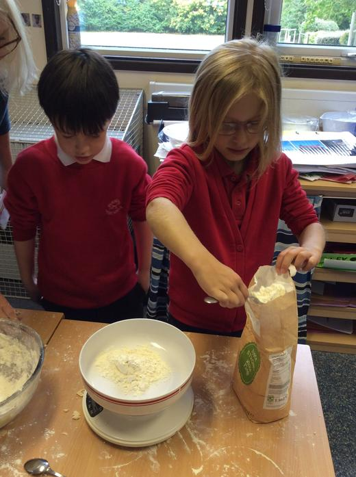 First we weighed the flour.