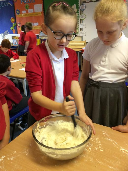 Next we stirred the ingredients.