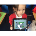 Year 1 programming the Blue-Bot to move on a digital map of Faringdon on the Blue-Bot app