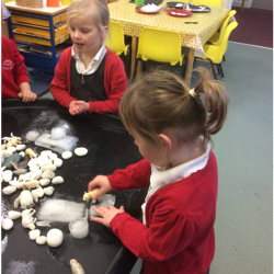 Playing with the animals frozen into the ice.