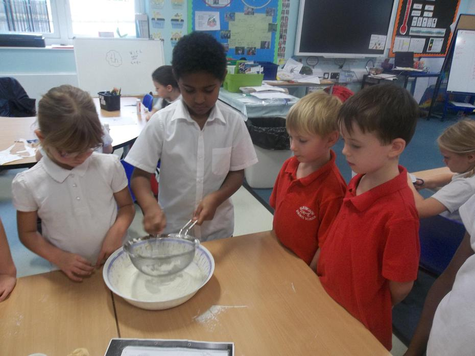 We used a sieve to add the flour.