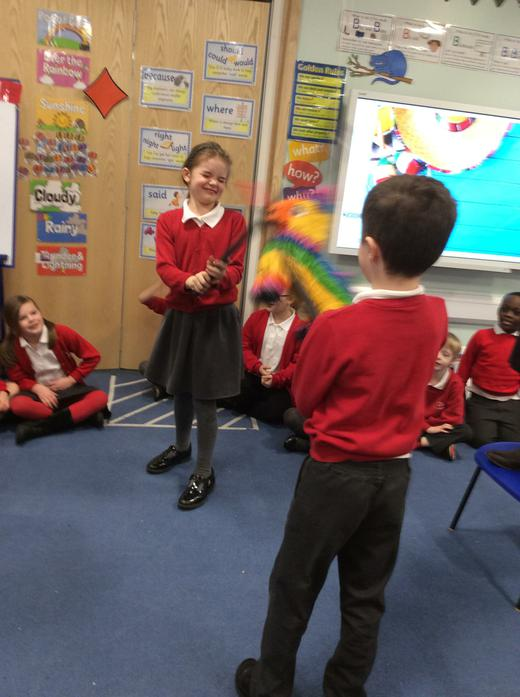 We had great fun playing with the pinata!