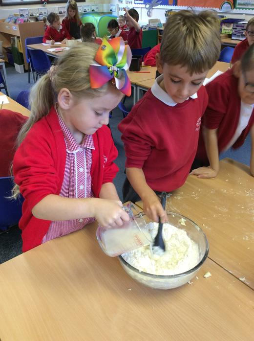 Then we added yeast and warm water.