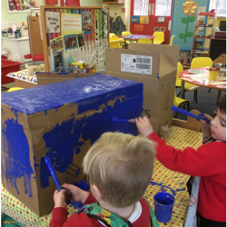 We painted boxes to make our own train.