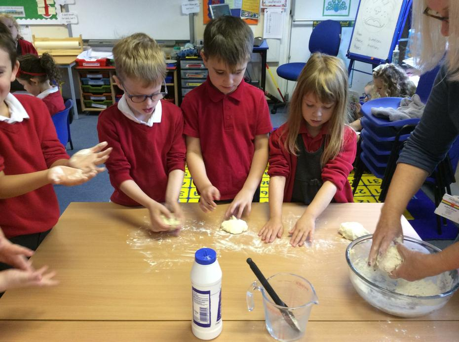 Then we kneaded the dough.
