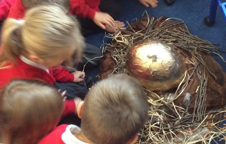 We found a giant egg on a nest.