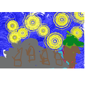 Year 1 Computer Art inspired by Vincent Van Gogh's Starry Night