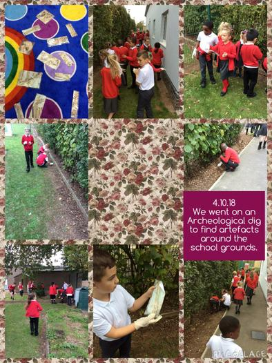 On Thursday 4th October, we received an urgent letter informing us that there were artefacts buried within our school grounds! Together as a class, we dug for the artefacts and discussed what they could be! 1