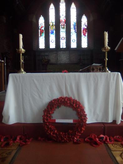 Our Poppy Wreath on display on Remembrance Sunday