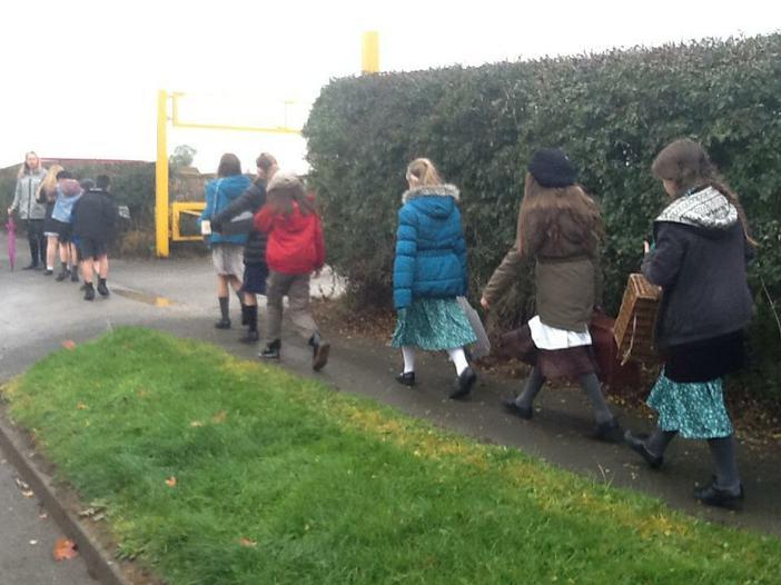 Walking to magnolia house as evacuees