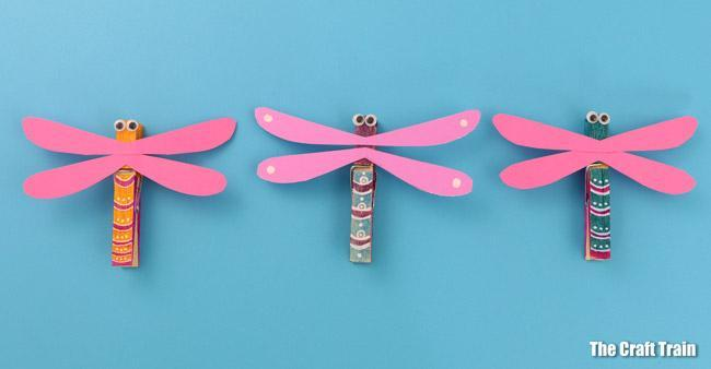 First we will be making dragoflies out of pegs, painting them and decorating wings!