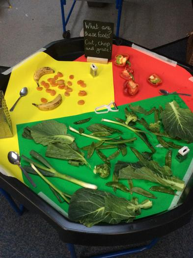 sorting food into colours