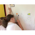 We are using paint pens to paint our wall.