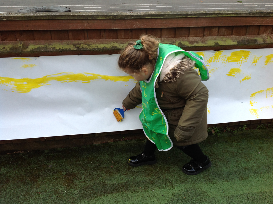 Outside we painted long caterpillars