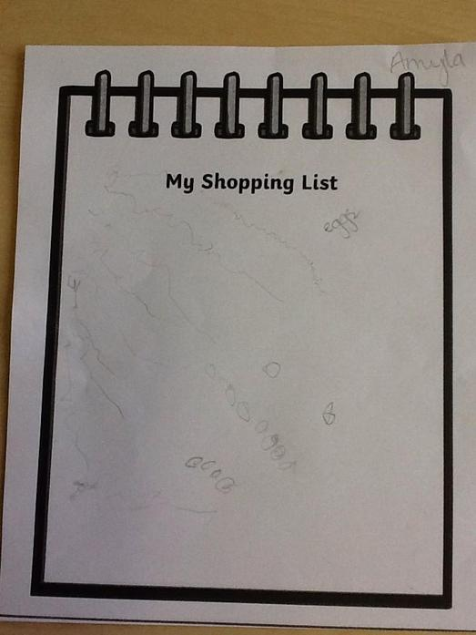 We wrote a shopping list for the wolf so he knew what ingredients to buy.