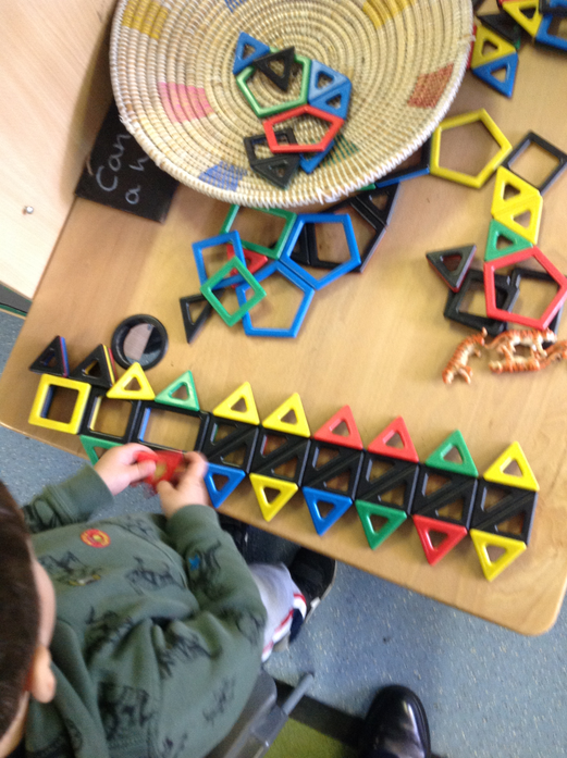 We created a long caterpillar using magnetic shapes