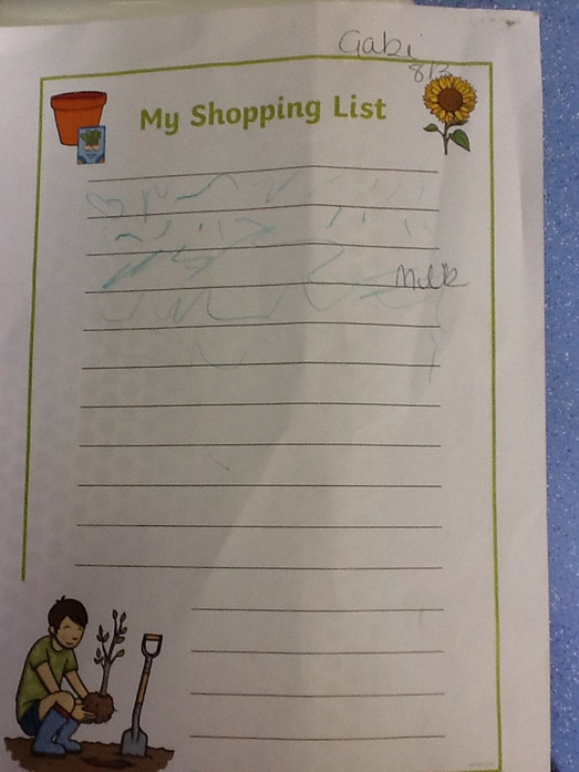We wrote a shopping list for the foods the caterpillar wanted.