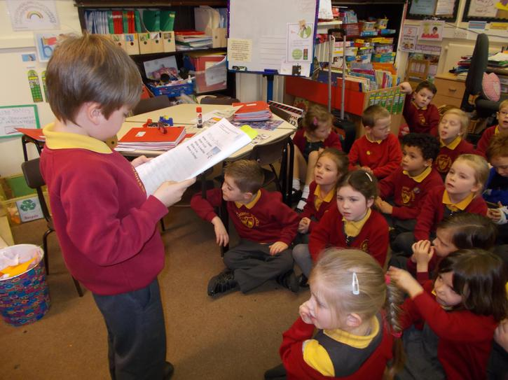 Jake wrote a Winter Poem and read it to the class.