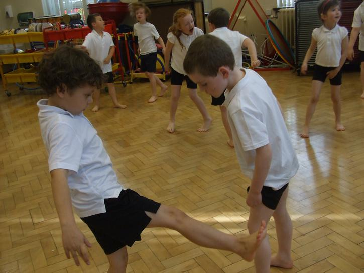 Working with a partner minibeast dance