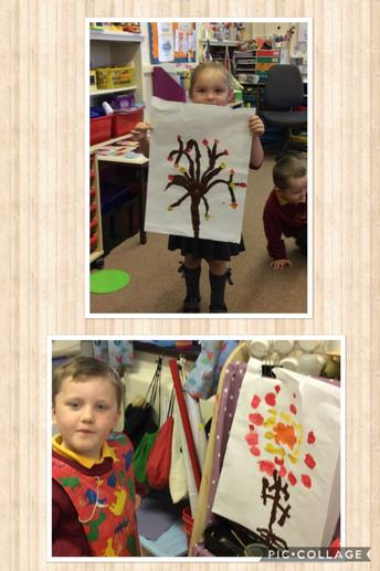 Autumn tree free painting on the classroom easel.