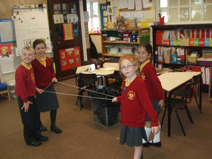 We had fun making 2D shapes with string!