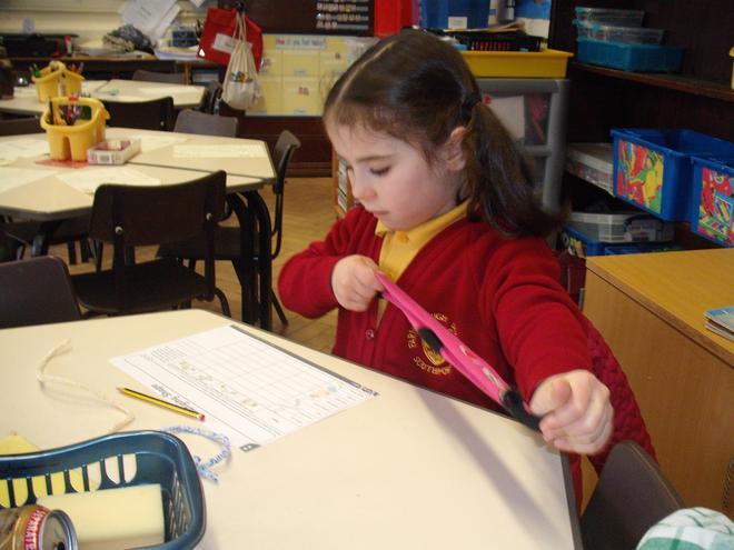 Investigating materials in Science Week.