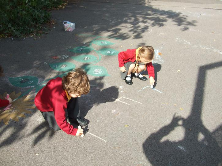 Mark making with the chalks.