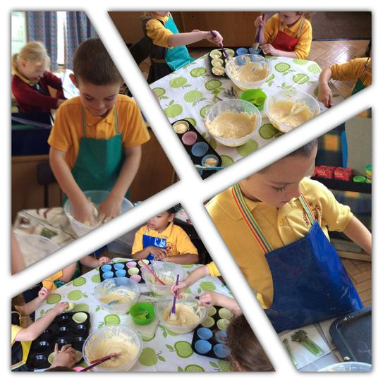 Yum yum... Baking. Careful measuring and mixing.