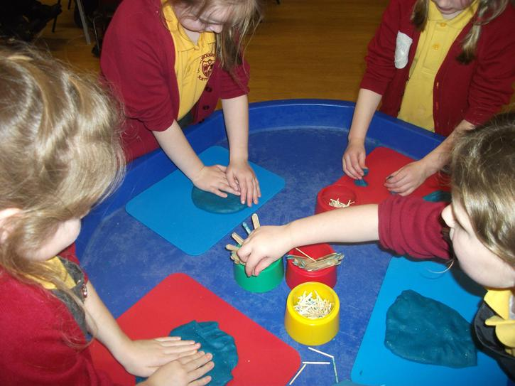 We made planets from our sparkly playdough