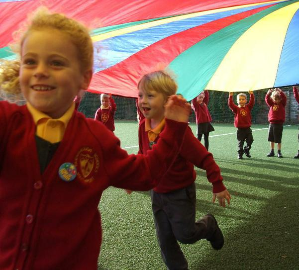 Exploring games with the giant parachute.