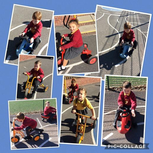 Developing gross motor skills on the bikes.