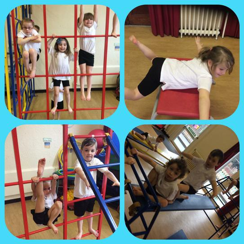 Working hard in gymnastics!