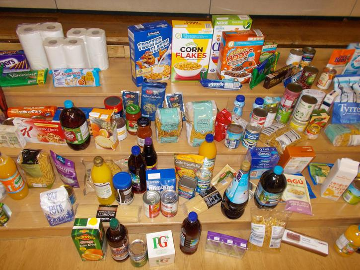 We collected lots of food for the Food Bank.