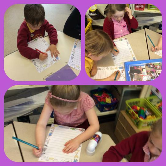 Writing all about our visit to Farmer Ted's!