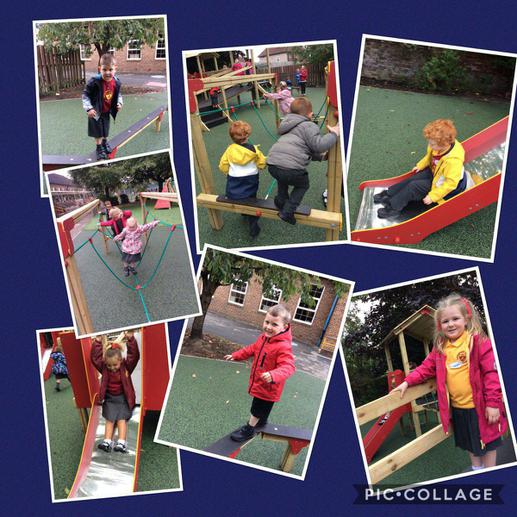 Exploring the new reception play area.