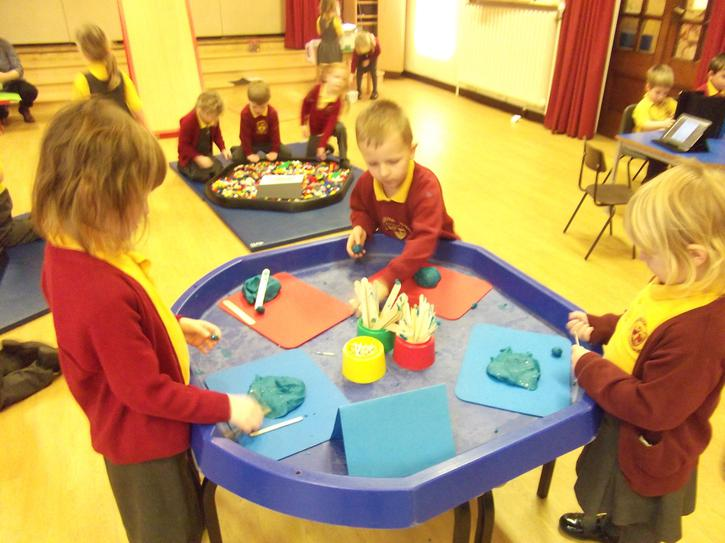 Making play dough space stations