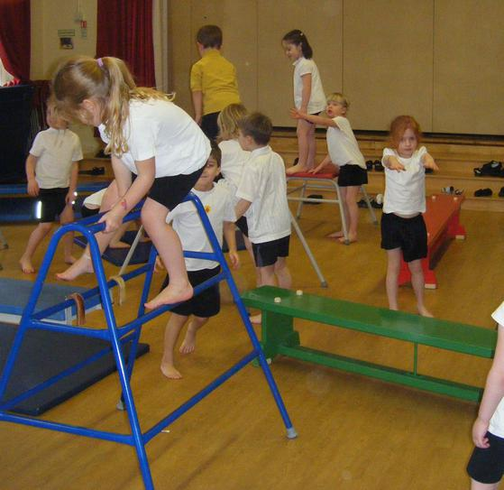Being aware of other children while exercising.