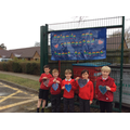Class 2 & 3 bubble with their finished hearts.