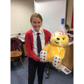 Congratulations to Jessica in Year 6 who won todays raffle prize - Pudsey Bear!