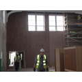 Wall at back of hall has been plastered
