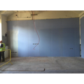Classroom wall boarded, ready for plastering