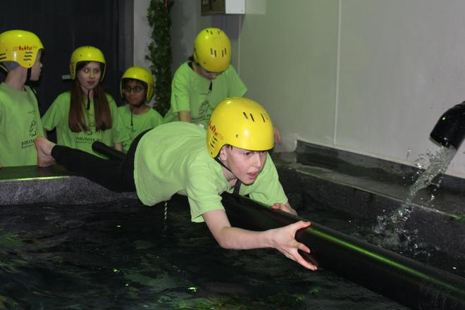 Year 6 tackle the piranha pool.