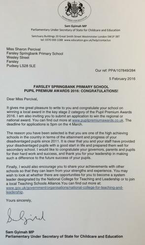 Pupil Premium Awards letter 2016