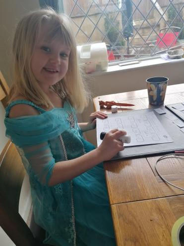 Bethany working hard in her princess dress!