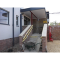 Stairs up to the new main entrance into school