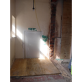 Door to old Y6 classroom boarded up + stairs gone!