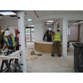 Reception desk being built