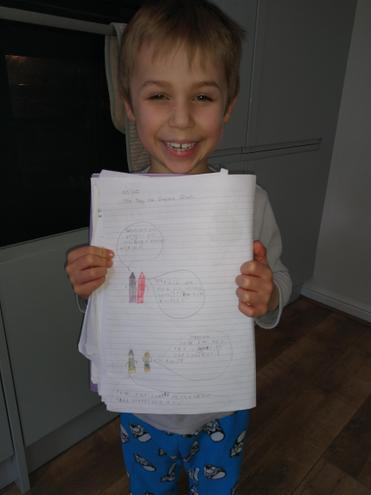 Arthur trying hard with writing!