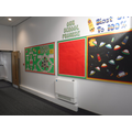 Displays on corridor leading from new to old build
